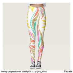 Trendy bright modern coral gold turquoise floral leggings