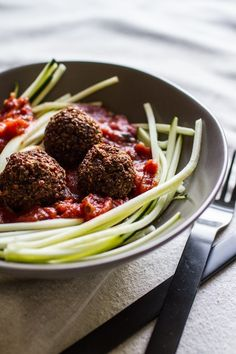 Zucchini Pasta with Quinoa Meatless Balls. From edibleperspective.com.