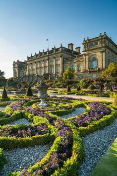 The terrace of Harewood House, Victorian formal gardens in England, built in the 1840s by Sir Charles Barry. Statue and water pool, and view over the parklands designed by Capability Brown in the 18th century.