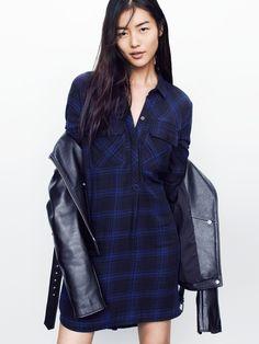 Madewell daywalk dress worn with ultimate leather jacket + Vans® slip-ons.