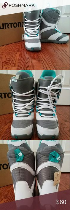NWT Burton Coco 2015 Snowboarding Boots Brand new*** Burton Snowboarding boots STYLE: Coco SIZE: 5 White/grey Teal Season 2015  Women?s-Specific True Fit? Design LACING: Traditional LINER: Imprint? 1 Liner with Integrated Lacing CUSHIONING: DynoLite Outsole FLEX AND RESPONSE: Soft Flex Tongue COMFORT: Total Comfort Construction, Snow-Proof Internal Gusset, and Level 1 Molded EVA Footbed Support Rating: 2  ***please check other sources for reviews. Burton Shoes Winter & Rain Boots