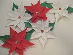 How to Make a Poinsettia: Ta da! A beautiful array of red and white poinsettias.