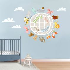 """Oopsy daisy, Fine Art for Kids presents Disney® """"It's a Small World - Around the World Animals"""" fabric wall decals $119"""