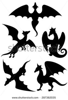 Vector Drawing Black Dragon Silhouette That Stock Vector (Royalty Free) 705140203 Silhouette Dragon, Animal Silhouette, Silhouette Art, Stencil Templates, Stencil Patterns, Stencils, Animal Cutouts, Animal Stencil, Motifs Animal