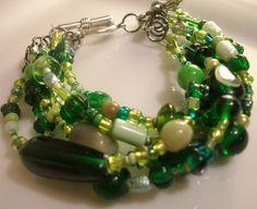 Beautifu green glass bracelet. Large size Bracelet Beaded Eight to Eight 1/2 by Obsidianrain, $20.00