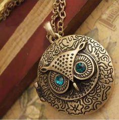 Vintage Brass Owl Locket Long Pendant Necklace with Blue Zircon Eye  #Locket