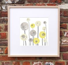 This item is featured in 'Ideal Home' magazine July 2014. Yellow and grey seed spheres inspired by the stunning Norfolk countryside. See other designs to create a great looking contemporary interior. Perfect to brighten any room and bring some sunshine to a room. All of our digital art prints fit perfectly into an Ikea frame, so a perfect way to create a lovely gift easily. The print looks great next to several of our other designs in particular 'Elderflower' and 'Cowslips'350gsm white ...