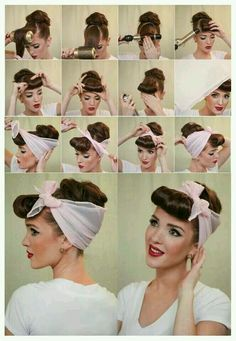 Coiffure foulard années 50 rockabilly pin upYou can find Pin up hair and more on our website.Coiffure foulard années 50 rockabilly pin up Vintage Hairstyles Tutorial, Retro Hairstyles, Scarf Hairstyles, Pin Up Hairstyles, Vintage Hair Tutorials, Hairstyle Ideas, Grease Hairstyles, 1950s Hairstyles For Long Hair, Halloween Hairstyles