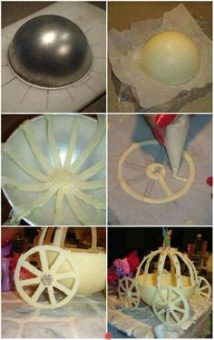 Step by step to make a cinderella coach from fondant or white chocolate