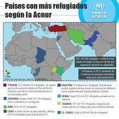 Conozca los países con mayor cantidad de refugiados según ACNUR. Africa, Map, Dramas, News, Syrian Refugees, Countries, Europe, Location Map, Maps