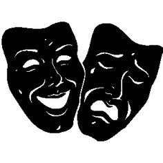 black and white drama masks black and white clipart pinterest rh pinterest com Drama Club Clip Art Drama Faces Clip Art