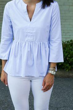 light blue peplum blouse