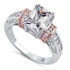 Rose Gold Accented Clear Emerald-Cut CZ Ring