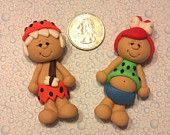 *POLYMER CLAY ~ OOAK - Pebbles and Bam Bam -  Polymer Clay Bow Centers