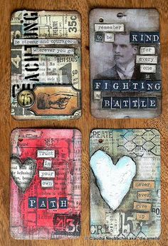 Von Pappe II: 52 Card Pickup - Session I love especially the quote on the sec. Von Pappe II: 52 Card Pickup - Session I love especially the quote on the second card of this set as it speaks of an important truth which we often forget about. Art Journal Pages, Journal Cards, Art Journals, Junk Journal, Atc Cards, Card Tags, Tim Holtz, Art Trading Cards, Artist Card