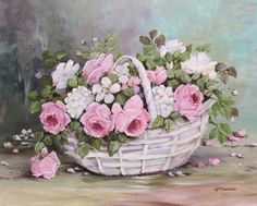 Ready to Frame Print – Blooms in a Basket – Postage is included Worldwide - Blumen Art Floral, Floral Prints, Decoupage Vintage, Decoupage Paper, Shabby Flowers, Vintage Flowers, Vintage Floral, Romantic Roses, Rose Art