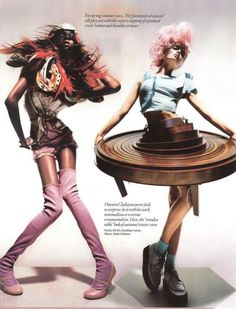 black-is-no-colour: Jourdan Dunn wears Alexander McQueen Spring 2005 and Lily Donaldson wears Hussein Chalayan Fall 2000 in Unbelievable Fashion photographed by Nick Knight and styled by Kate Phelan for Vogue UK December 2008 Hussein Chalayan, Foto Fashion, New Fashion, Trendy Fashion, Fashion Art, Crazy Fashion, Strange Fashion, British Fashion, Future Fashion