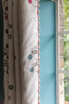 Curtains is 'Yasmina' by Penny Morrison with a George Spencer 'Fan Edge Trim . Walls in Stone Blue by Farrow and Ball Black Curtains, Kids Curtains, Linen Curtains, Curtains With Blinds, Window Seat Cushions, Red Cushions, French Country Bedrooms, French Country Decorating, Chelsea Textiles