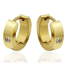 * Penny Deals * - SumBonum Jewelry Womens Gold Plated Stainless Steel Cubic Zirconia Simple Plain Cambered Stud Huggie Hoop Earrings, Golden Silver *** You can find more details by visiting the image link.