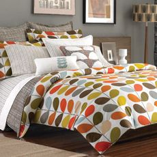 WANT! Colors match the master bedroom paint (paprika) or guest room (butter yellow) perfectly. Great for a lighter summer blanket!   Orla Kiely Stem Mini Comforter Set, 100% Cotton 300 Thread Count