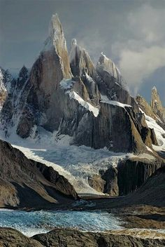 The inaccessible Cerro Torre in Santa Cruz Province. Welcome to Patagonia - Argentina. Places To Travel, Places To See, Places Around The World, Around The Worlds, Beautiful World, Beautiful Places, Landscape Photography, Nature Photography, Building Photography