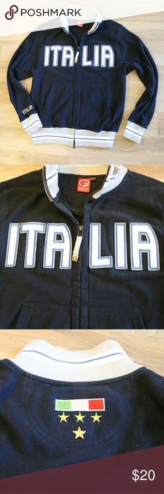 Italia soccer zip up sweater jacket Italia soccer team fan jacket.  65% Cotton 35% polyester Jackets & Coats