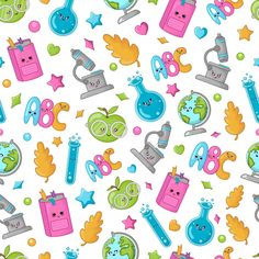 Seamless Pattern Back School Learning Concept Stock Vector (Royalty Free) 1404085952 Flat Background, Background Patterns, Cute Cartoon Characters, Kawaii Doodles, Patterned Sheets, Book Illustration, Drawing S, Paper Art, Arts And Crafts
