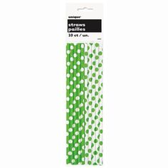 Lime Green Polka Dots Paper Straws, 10ct