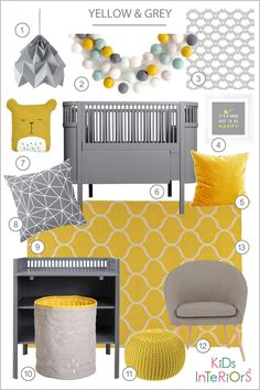 Styleboard for a yellow and grey nursery room by Kids Interiors - Sebra, Ikea, Snowpuppe Studio, Lilipinso, Roommate, Fabelab, Etsy, Marks and Spencer..