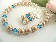 Bridal Jewelry Set Bracelet and Earrings by BrightSpotDesigns, $34.00
