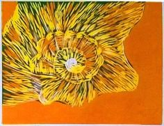 Linocut Shell Wall art Orange Handmade by Laura Young - Magnolia Lily on Etsy