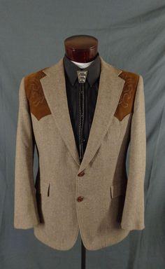 Vintage Pagano West Brown Tweed & Ultra Suede Western Rockabilly Blazer–42-VLV #PaganoWest #Doyoureallyneedone