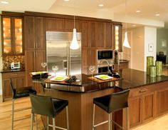 Expensive Walnut Kitchen Cabinets With 3 Stools Great Brown Wooden Walnut Kitchen Cabinets Color