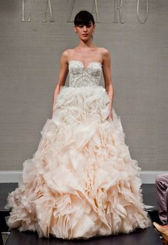 Obsessed with this frothy ballgown! Lazaro Fall 2014 | The Knot Blog