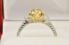 3.73 Carat Fancy Deep Yellow Diamond Ring / 3 Carat Center / GIA