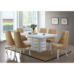 East West Furniture Wooden Dining Table Set 6 Piece - Wooden Modern Dining Chairs Seat - Linen White Finish Dining Room Table and Dining Bench Modern Dining Table, Dining Chair Set, Dining Room Table, Dining Bench, Modern Chairs, Outdoor Dining, Wrought Iron Patio Chairs, Table Seating, Swinging Chair