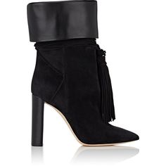 Saint Laurent Women's Tanger Suede Ankle Boots (€1.345) ❤ liked on Polyvore featuring shoes, boots, ankle booties, ankle boots, black, short black boots, black high heel boots, black high heel booties, black bootie and black pointed toe booties