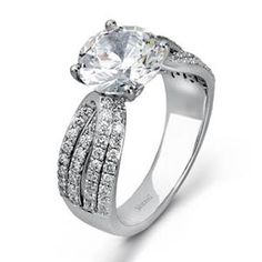 Shop online SIMON G WRE-12440 Side Stone 18K - White Gold Diamond Engagement Ring at Arthur's Jewelers. Free Shipping