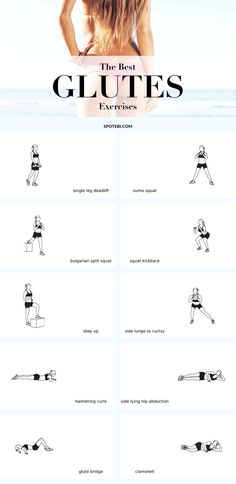 Top 10 exercises to lift, round and firm your glutes! To give your backside that nice, round shape, you need to choose the best glute exercises, that target and activate the muscles, and use enough weight to build muscle tissue. https://www.spotebi.com/fitness-tips/the-best-glute-exercises-lift-round-firm/