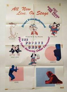 """THE POPEYE SHOW Vintage Hollywood Original Poster LIVE ON STAGE 25"""" x 37 1/2"""" Mighty Mouse, Original Movie Posters, Pink Panthers, Vintage Hollywood, Your Favorite, Stage, The Past, The Originals, Live"""