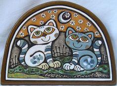 Handmade Ceramic Plaque (cat date – brown sky)