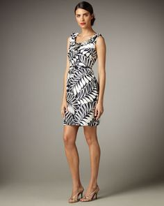 $96 belted stella leaf-print dress - Last Call by Neiman Marcus