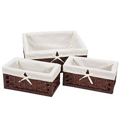 Keep your room stylishly organized with the Household Essentials Paper Rope Decorative Storage Basket Set. Beautiful hand woven designs feature a flat-weave, curved front and fitted white liner. Hinged lid keeps contents secure and dust out.