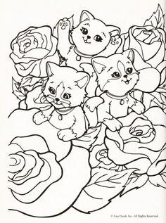 Kleurplaat poezen tussen rozen