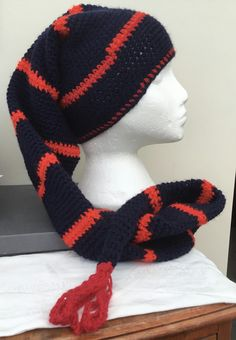 Fantastic Striped Red and Blue Crocheted Fantasy Long Hat Scarf. £14.00 Knitted Gloves, Beautiful Gifts, Mittens, Scarves, September, Fantasy, Hats, Red, Blue