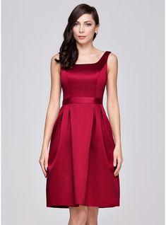 A-Line/Princess Square Neckline Knee-Length Satin Bridesmaid Dress With Ruffle