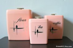 Vintage 1950s Kitsch PINK set of Coffee Tea and Flour by KroweNYC, SOLD!