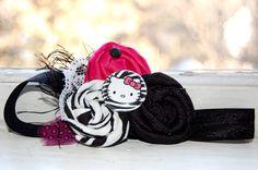 Hello Kitty Vintage Rosette Headband in Zebra Hot Pink & Black-