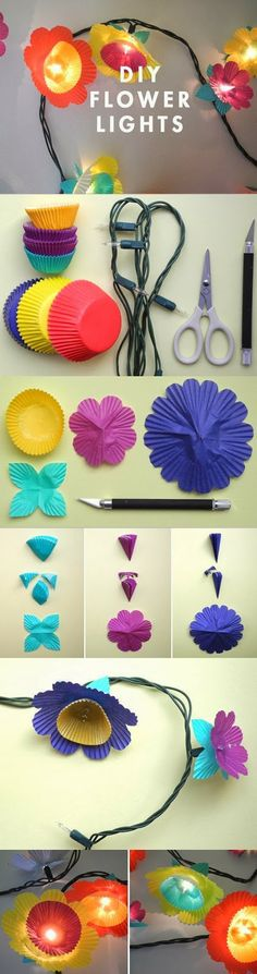 DIY Flower Lights-Could be cute for Sweet Pea's room some day