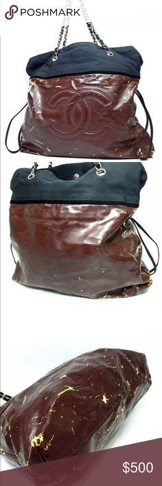 26e221cc5c07 Chanel double chain shoulder bag Authentic Chanel coating canvas shoulder  bag Category Shoulder Bag Brand CHANEL